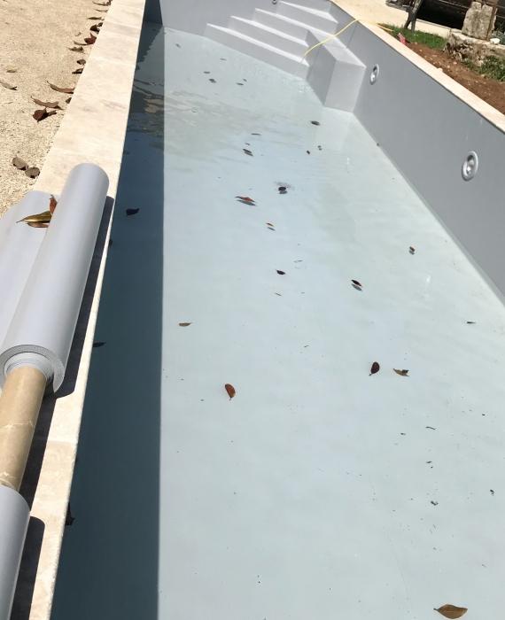 Piscine PVC Armé 15 m x 3.50 m Escalier d'angle avec banquette